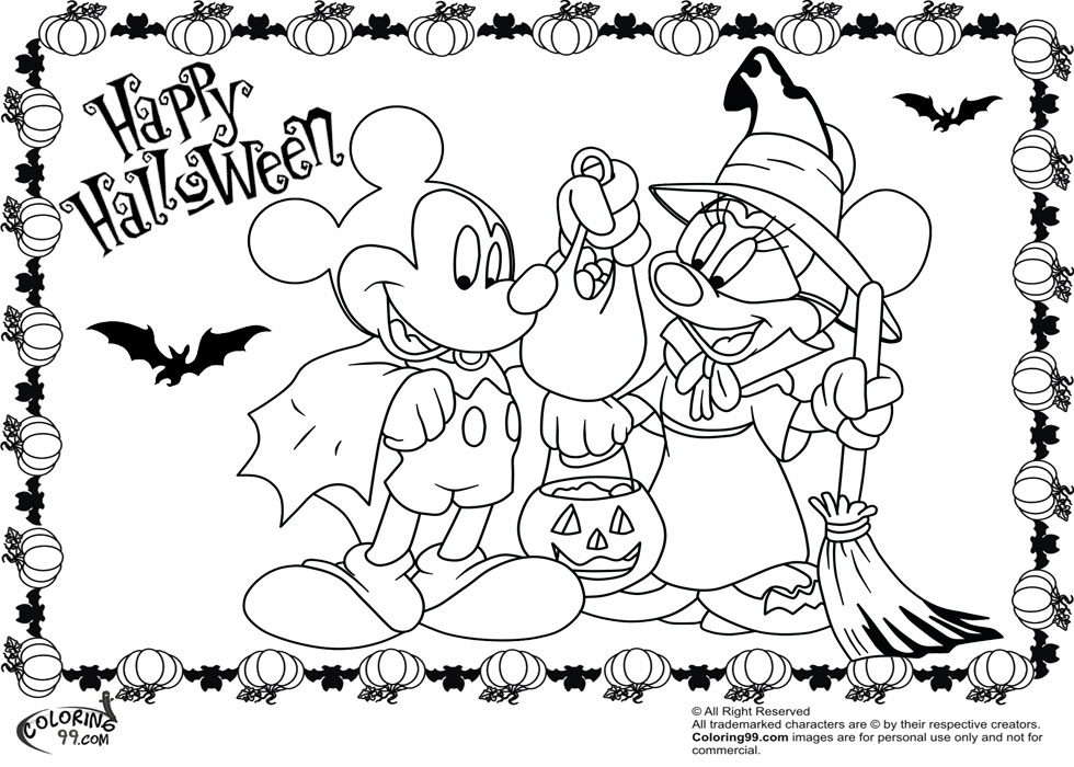 - Minnie And Mickey Mouse Coloring Pages For Halloween Team Colors