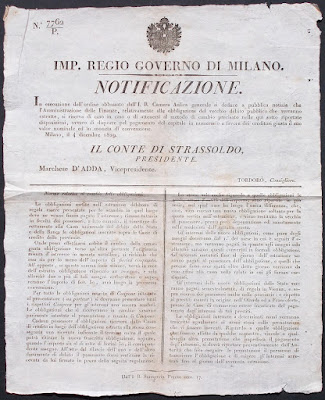 Regio governo di Milano - 5 notificazioni - documenti antichi - collezionismo - annunci