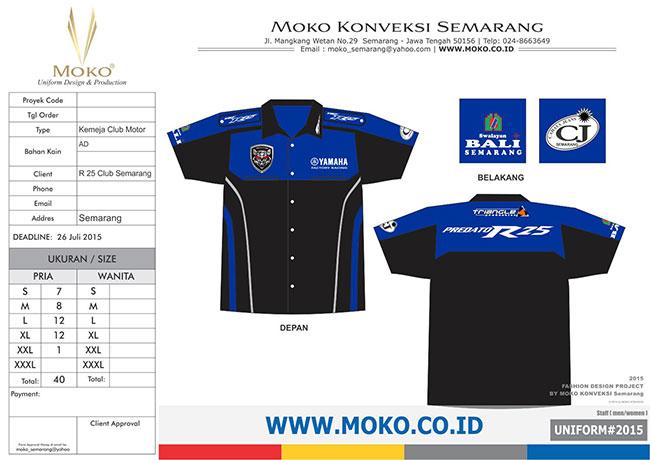 KONVEKSI SEMARANG MOKO: Kemeja Club Motor Yamaha R25