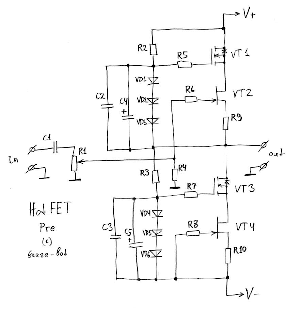 HotFET Pre: J-FET audio preamplifier schematics | MyElectrons