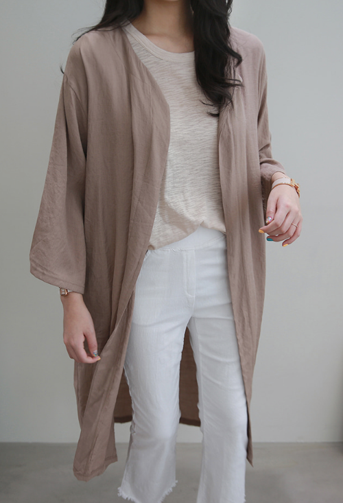 Open Front Mid-Calf Cardigan
