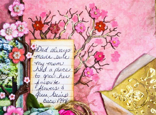 Pink and gold garden themed mixed media scrapbooking layout with Prima flowers, cherry blossoms, pearlescent and puff paint