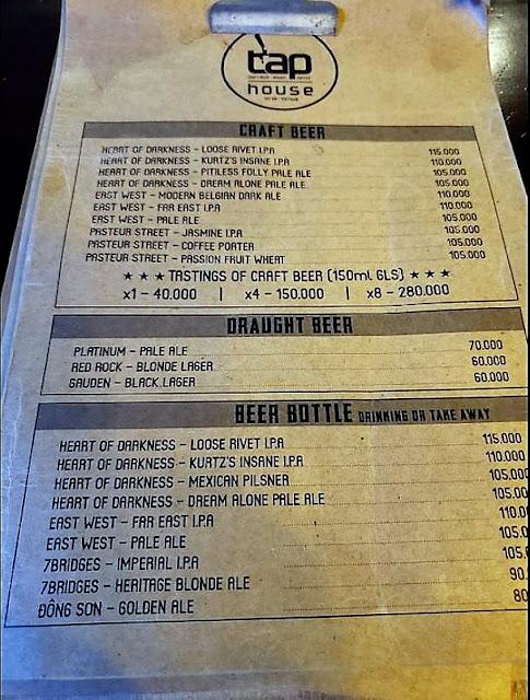 tap house beer menu hoi an vietnam