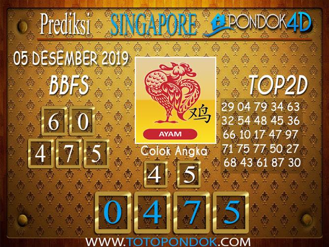 Prediksi Togel SINGAPORE PONDOK4D 05 DESEMBER 2019