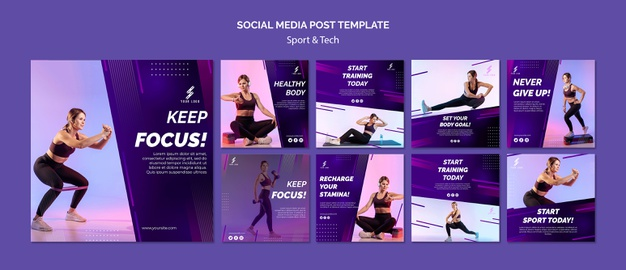 Sports and tech social media posts template Free Psd