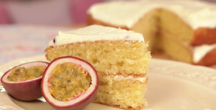 passion fruit butter cake with glace icing