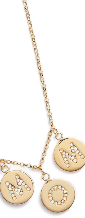 KATE SPADE NEW YORK mom knows best pavé charm necklace