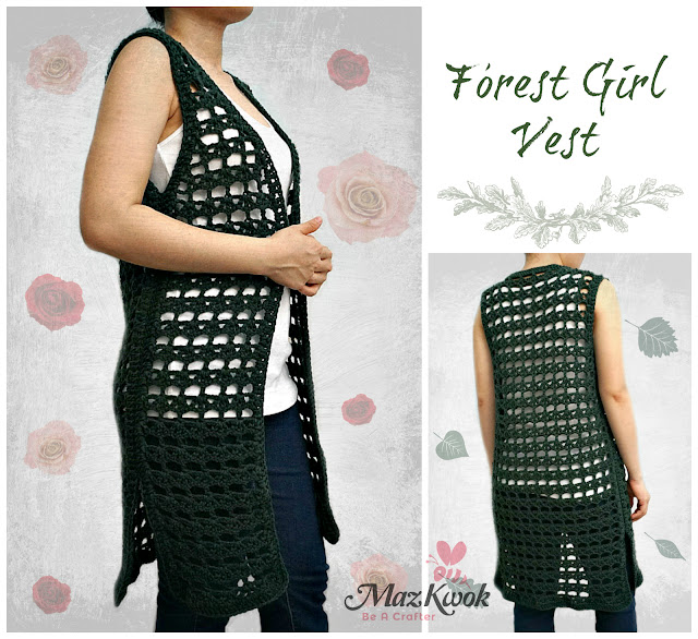 crochet lacy long vest