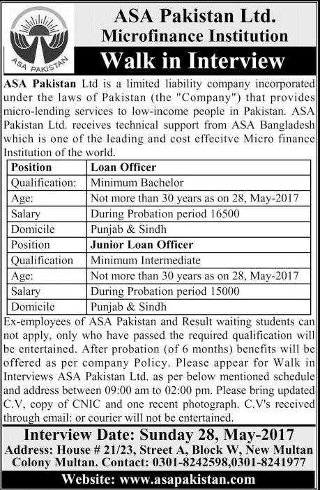 Bank Jobs in Pakistan ASA Pakistan Ltd