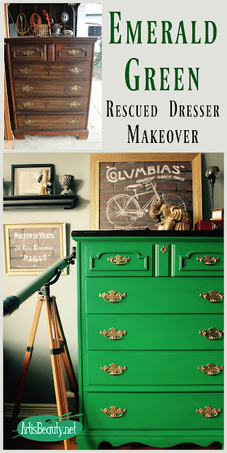 emerald green rescued dresser makeover before and after general finishes water based milk paint boho chic eclectic decor