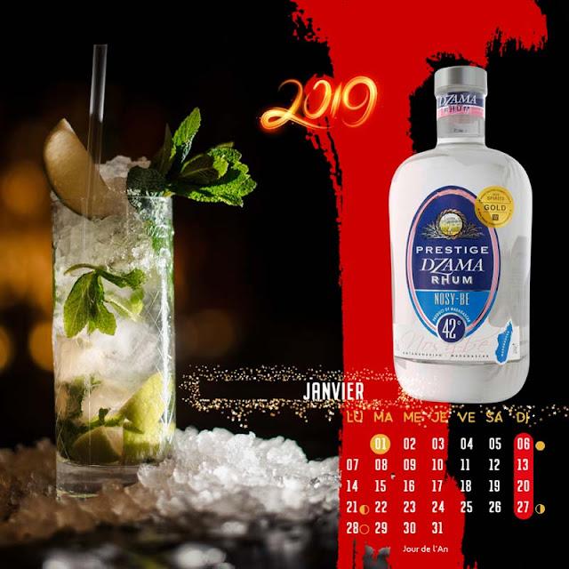 calendrier chevalet rhums blanc de Nosy Be Dzama Prestige, janvier