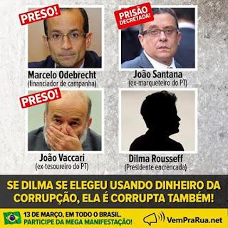 Marcelo Odebrecht financiador da campanha presidencial João Santana ex-marqueteiro do Partido dos Trabalhadores e João Vaccari ex tesoureiro do PT estão presos. Todos os três tiveram relações diretas com as campanhas presidenciais de Dilma Rousseff.