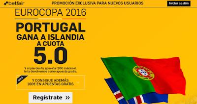 betfair Portugal gana Islandia supercuota 5 Eurocopa 2016 14 junio