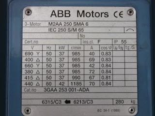 Nama Plate Motor 1 Phase