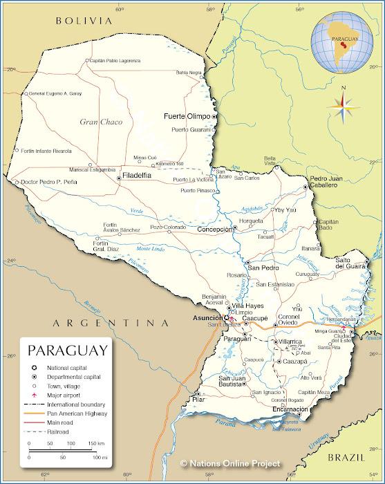 Mapa rodoviário do Paraguai