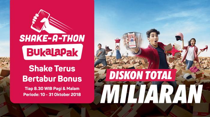 Bukalapak - Promo Shake a Thon Diskon Total Miliaran (10 - 31 Okt 2018)