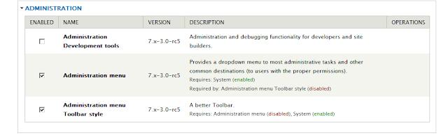 Mengaktifpkan module Administration menu