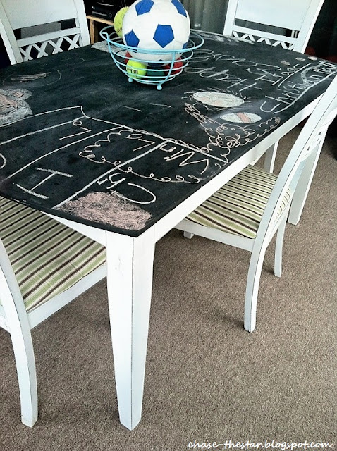 dining table made into a chalkboard surface