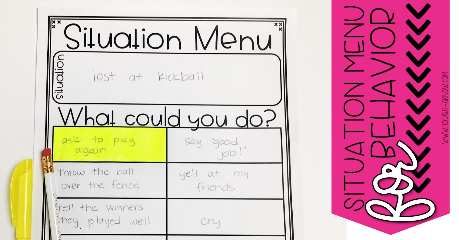 Situation menus are a graphic organizer for behavior that allows students to reflect on behavior or for teachers to proactively teach coping strategies.