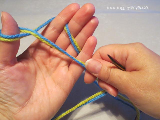 Laufknoten als Anfangsschlinge beim Stricken - Schlinge legen
