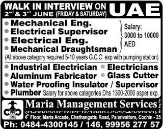 Walk in Interview for company in UAE
