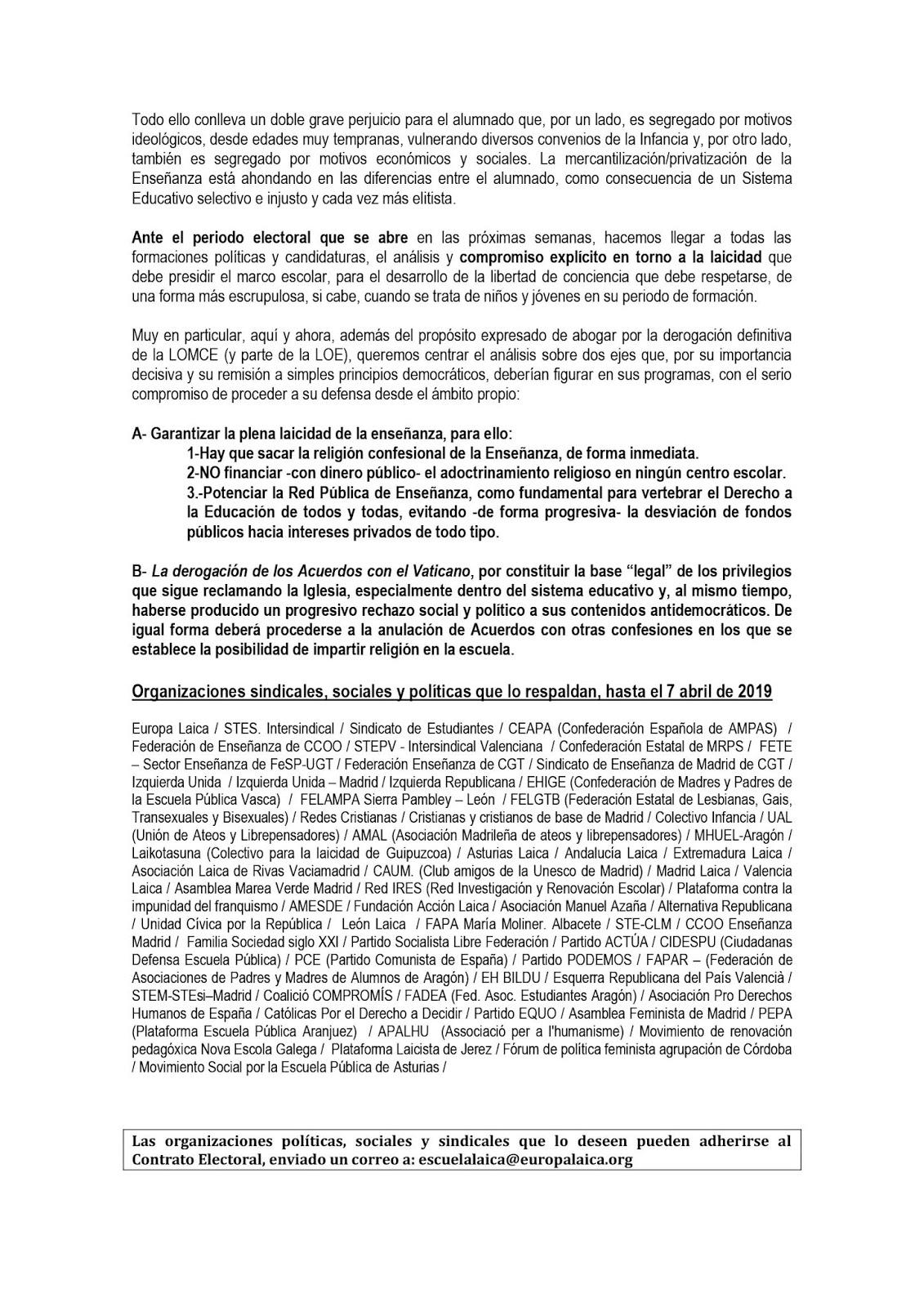 """MareaVerde: Campaña unitaria """"Por una Escuela Pública y"""