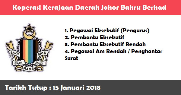 Jawatan Kosong di Koperasi Kerajaan Daerah Johor Bahru Berhad
