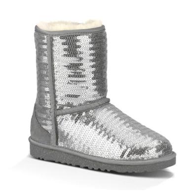 UGG Australia Kids Classic Short Sparkles Boot - silver