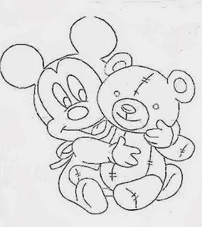 risco para pintar mickey bebe com ursinho