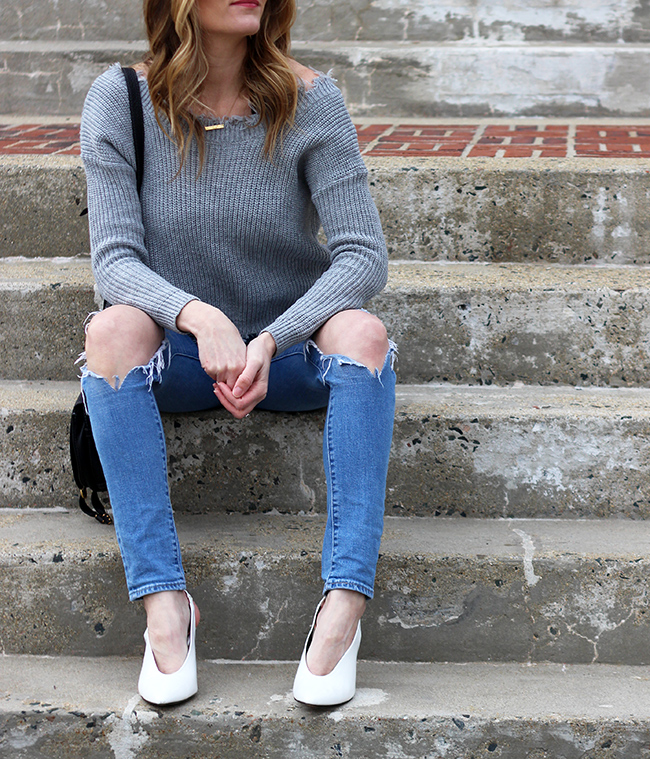Ripped Jean and White Pumps