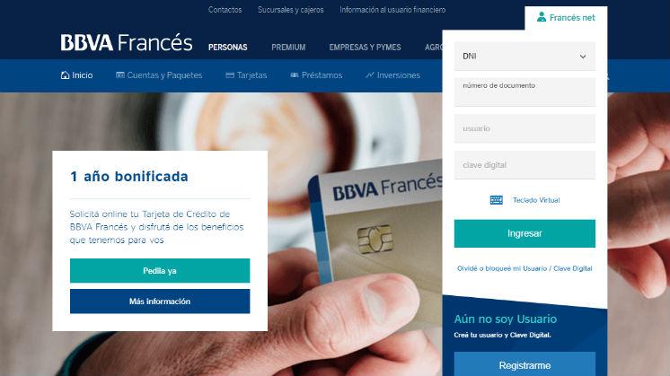Home Banking de Banco Frances Argentina