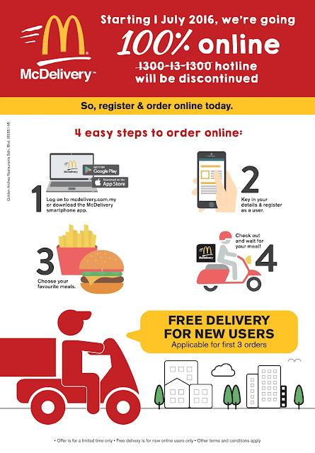 McDonald's Malaysia Online Free Delivery First 3 Orders
