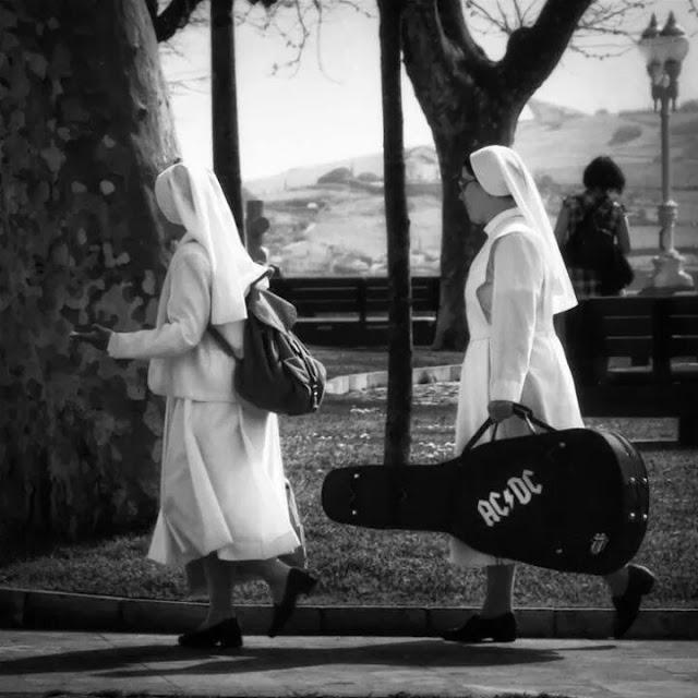 Funny AC/DC Guitar Case Nun Religious Photograph