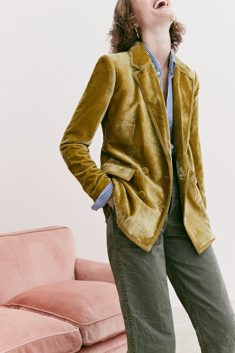 J. Crew Collection Double-Breasted Velvet Blazer, Secret Wash Shirt in Heritage Blue Stripe, The 2011 Foundry Pant and Tortoise and Gold Hoop Earrings