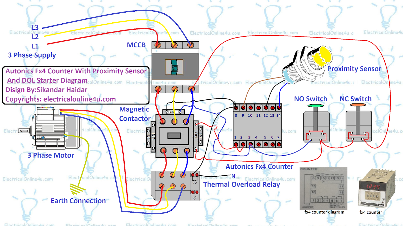 hight resolution of autonics fx4 counter with dol starter and proximity sensor diagram
