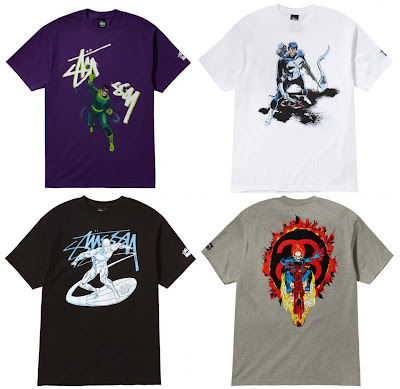 Marvel Comics x Stussy Collection Series 1 - Doctor Octopus, The Punisher, Silver Surfer & Ghost Rider T-Shirts