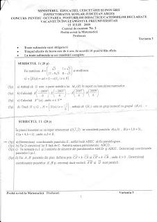 Subiecte titularizare 2009 matematica - Arges