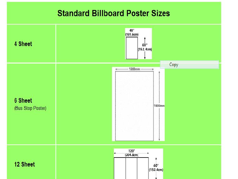 Apa standard poster size