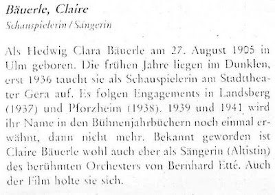 Tondokumente der Kleinkunst - biography on Clara Bauerle