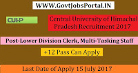 Central University of Himachal Pradesh Recruitment 2017– 80 Lower Division Clerk, Multi-Tasking Staff