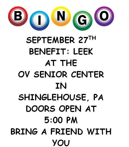 9-27 Bingo OV Senior Center Shinglehouse.