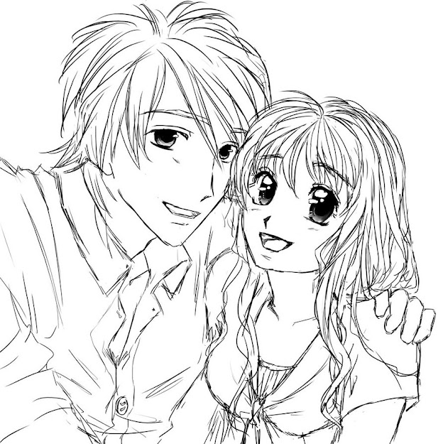 Anime Couple Coloring Pages Anime Coloring Pages To Print Coloring  Throughout Anime Couples Coloring Pages