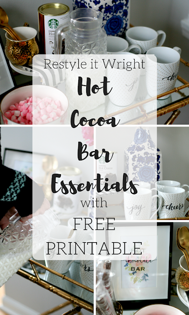 DIY hot cocoa bar with hot chocolate, gold tray, hot water kettle, decorative bowl and a free hot chocolate printable