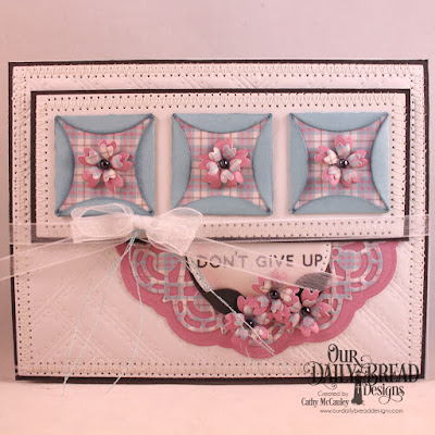 Our Daily Bread Designs Stamp/Die Duos: Walk by Faith, Paper Collection:  Shabby Pastels, Custom Dies: Quilted Background, Quilted Window Squares, Doily, Pierced Circles, Bitty Blossoms