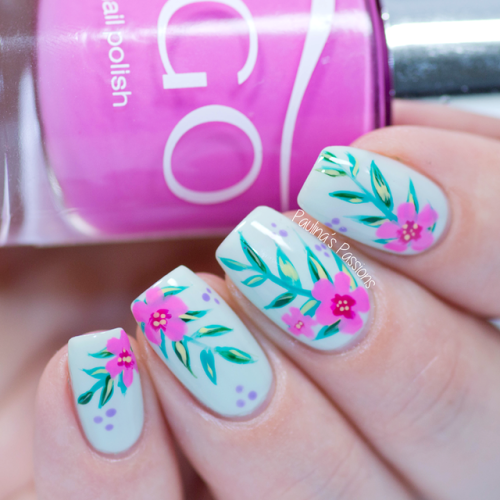 Tropical Floral Nail Art Tutorial