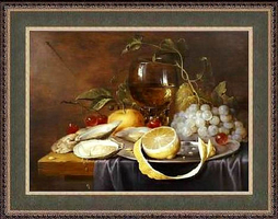 Still life whit grapes and oysters