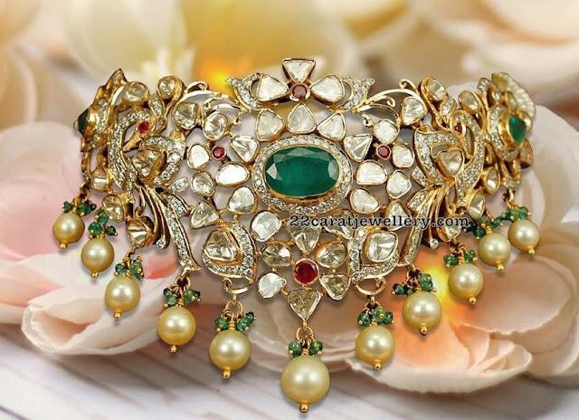 Pachi Choker with Emeralds by Mangatari Jewellers