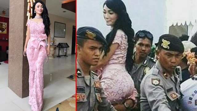 Viral Di Media Sosial , Foto Zaskia Gotik Digendong 3 Polisi .