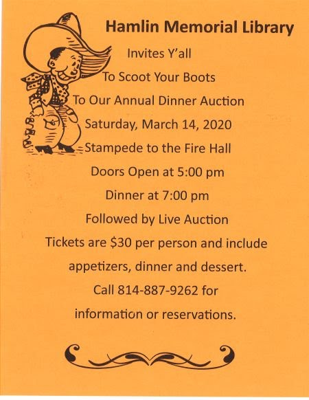 "3-14 Hamlin Memorial Library ""Annual Dinner Auction"""