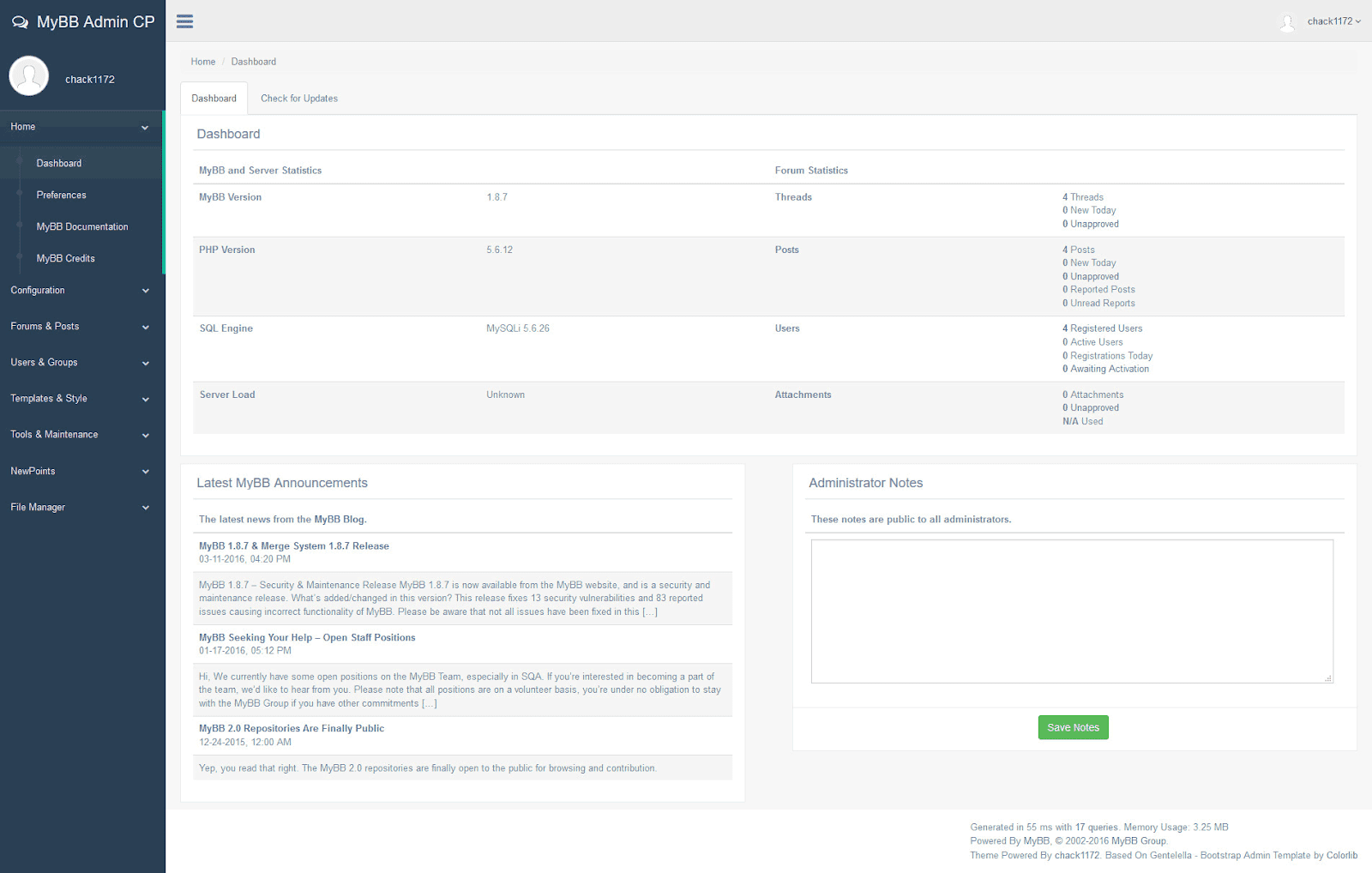 AdminCP Responsive Bootstrap theme đẹp miễn phí cho MyBB